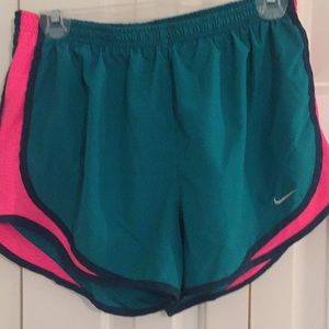 EUC Nike dri-fit tempo shorts; green, black, pink